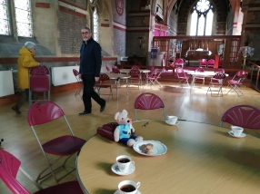 Setting up for Lent lunch